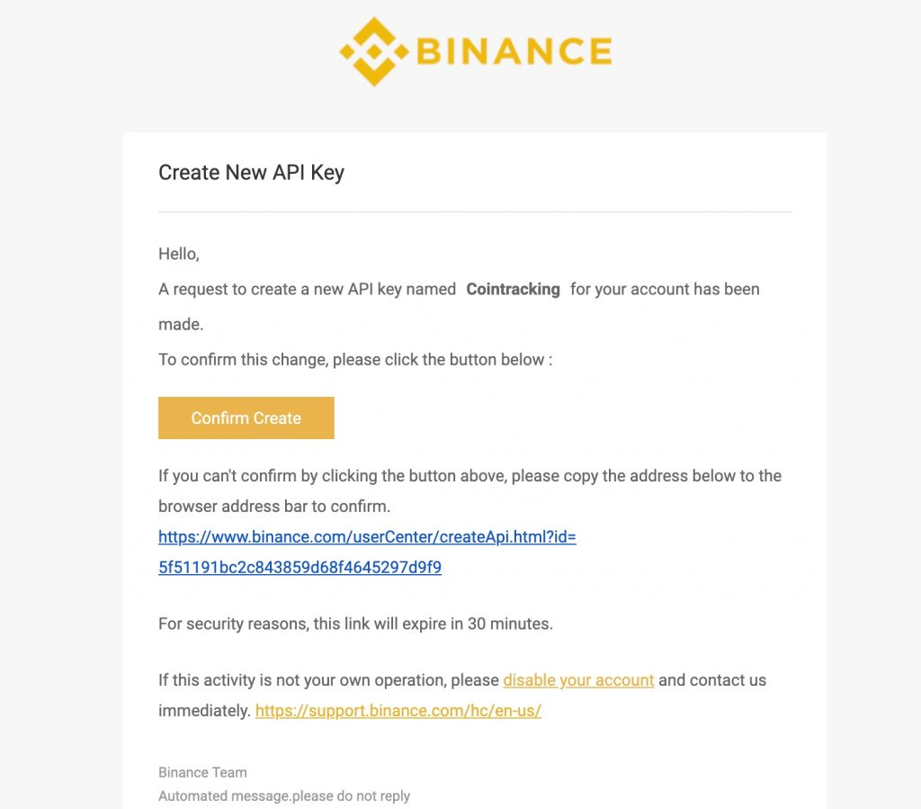 Binance-API-Key-bestätigung